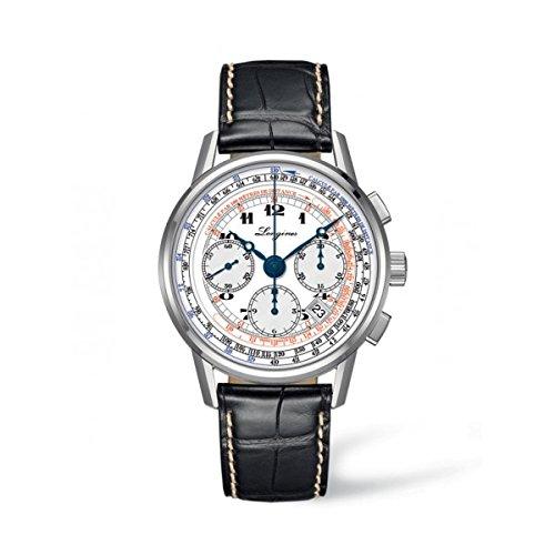 Longines Herren Chronograph Automatik Uhr mit Leder Armband L27814132