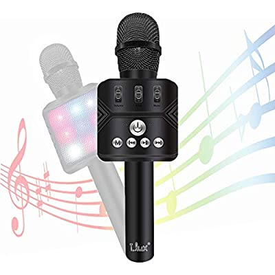 Karaoke Microphone I.lux Wireless Blue Karaoke microphone in Multi-color LED Lights,Handheld Home Party Karaoke Speaker Machine for Android/iPhone/iPad/Sony/PC or All Smartphone