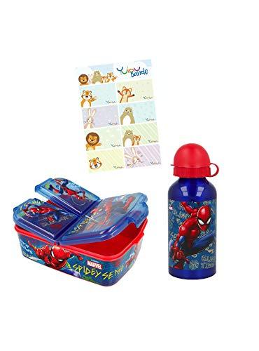 Spider-Man Set Premium Brotdose + Alu-Trinkflasche mit Yuhu Bande Namens-Aufkleber Sticker