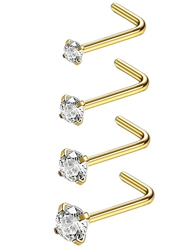 Jstyle 20G 4 Pcs Stainless Steel Nose Rings Studs L-Shape Piercing Body Jewelry 1.5mm 2mm 2.5mm 3mm G