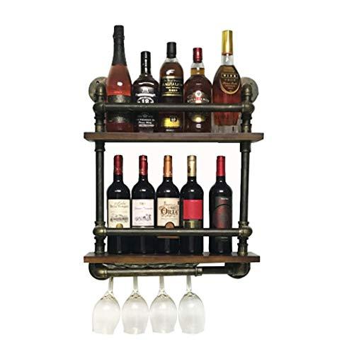 Etagère à bouteille 2 niveaux mur métal fer à vin porte-bouteilles suspendus porte-bouteille de vin eau tuyau étagères de rangement de vin Style Vintage Creative Bar décoration, noir, 52 x 15 x 60 cm