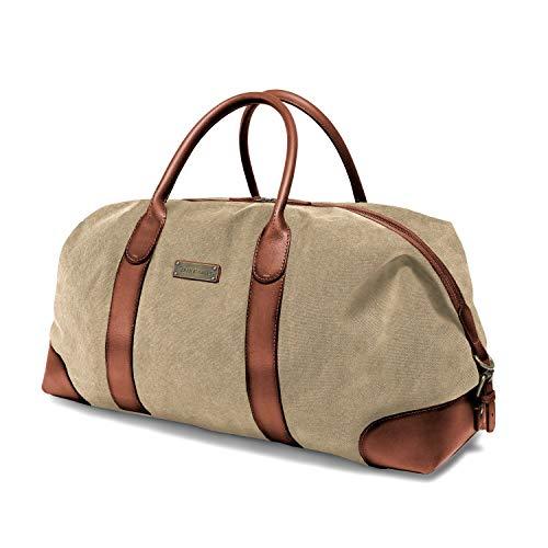 DRAKENSBERG Kimberley Duffel Weekender, borsa da viaggio, grande, bagaglio a mano, borsone, bagaglio, tela, canvas, pelle, vintage, lussuosamente, beige, marrone
