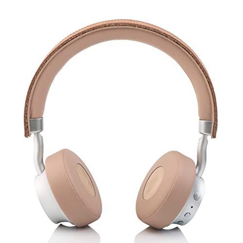 hër on-ear Bluetooth Stereo Headphones Kopfhörer kabellos wireless (verstellbare Bügel, Mikrofon, inkl. Tragetasche und 3,5 mm Klinkenkabel), beige / nude