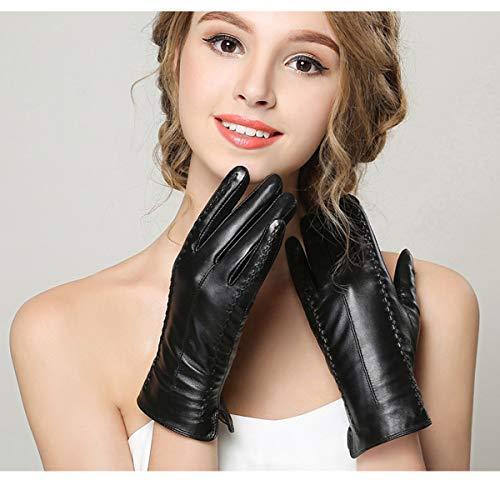 Vohoney Damen Winter Handschuhe Warme Handschuhe Baumwolle Handschuhe Strick Handschuhe Winterhandschuhe Touchscreen Handschuhe Weihnachten Geschenke (Damen Lederhandschuhe Schwarz)