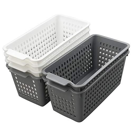 Rinboat Cestos Cesta Cesto de Almacenamiento de Plástico para Cocina, Color Gris y Blanco, 6 Unidades