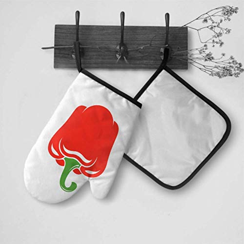 Wfispiy Oven Gloves Large Chill Red Spicy Pepper Oven Mitt Hanger Oven Mitt and Potholder Set Waterproof Heat Resistant for BBQ Cooking Baking Grilling Barbecue