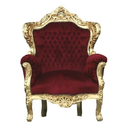 Casa Padrino Barock Sessel 'King' Bordeaux/Gold Thron