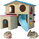 PINVNBY Wooden Hamster House Small Animal Hideout Climbing Ladder Slide Hut Play Toys for Chipmunk Mouse Rat Hedgehog (Blue)