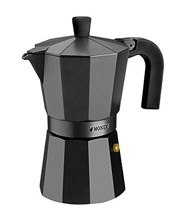 Monix Vitro Noir – Cafetera Italiana de Aluminio, Capacidad 1 Taza, Apta para Todo Tipo de cocinas Salvo inducción (Braisogona_M640001)