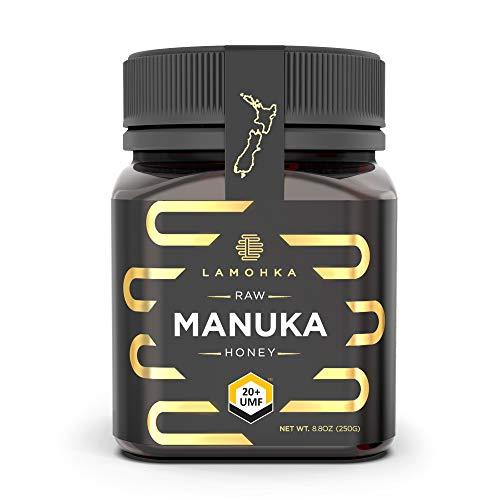 Lamohka Raw Manuka Honey from New Zealand, UMF 20+ (MGO 830+) Certified 8.8oz, for Skin, Food - Natural, Unpasteurized Honey from Nectar of Manuka Tree Flower - Traceable New Zealand Honey