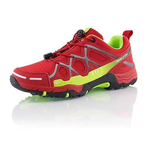 Fusskleidung® Damen Herren Wanderschuhe atmungsaktive Trekkingschuhe leichte Laufschuhe Rot Grün Weiß EU 45