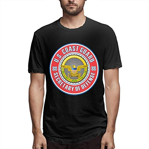 U.S. Coast Guard Secretary of Defense Badge Stylish, Casual, Comfortable Cotton Fashion Short-Sleeved T-Shirt 1,Black,XX-Large