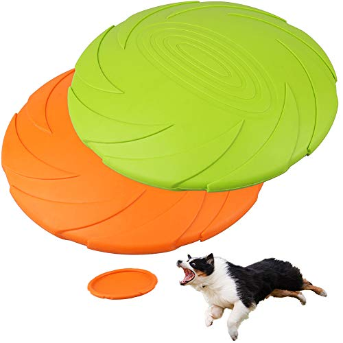 PrimePets 2Pack 7Inch Dog Frisbee, Dog Flying Disc Durable Dog Toys, Nature Rubber Floating Flying Saucer for Water Pool Beach(Orange, Green)