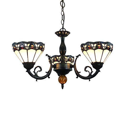 WTTWW Techo de la Sala Luz 8 Pulgadas de Tiffany lámpara de vitral del Estilo Romano Cortinas de la lámpara 3 Armas de la lámpara de Techo invertido iluminación Pendiente