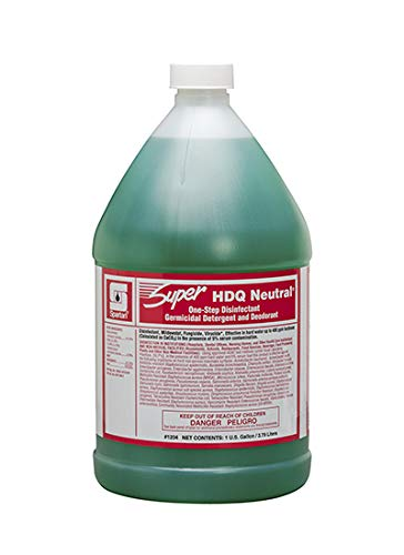 Spartan Chemical SUPER HDQ Neutral Sanitizing Solution Non-Acid Disenfectant, Virucide, 1 Gallon