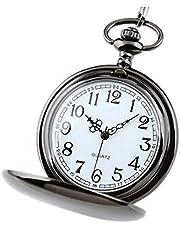 懐中時計 ポケットウォッチ ナースウォッチ 飾り時計 アラビア数字 可愛いミニ 読みやすい清楚感 メンズ レディース キッズ 子供 懐中時計チェーン (ブラック)