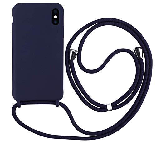 MEIVS Funda Compatible con iPhone X/XS MAX, Ajustable Collar Correa de Cuello CordónCarcasa de Silicona-Azul Oscuro
