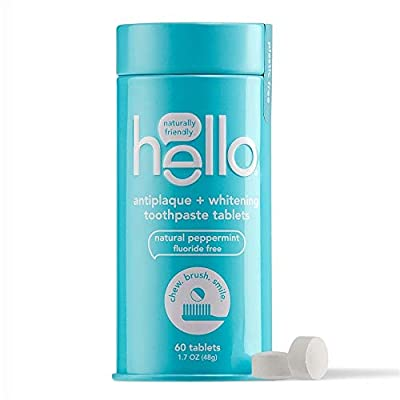 Hello Antiplaque + Whitening Toothpaste Tablets, Peppermint, 60 Tablets