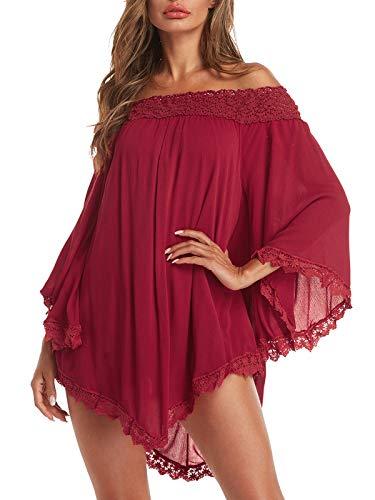 ZANZEA Vestidos Mujer Verano Corto Sexy Sin Hombros Vestido Playa Vintage Mangas Largas Encaje Irregular Elegante Casual Rojo Vino XXL