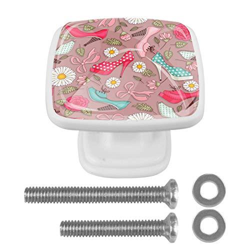 Perilla divertida del cajón del patrón de los tacones altos de las mujeres para la estantería del aparador del gabinete del hogar 4PCS con los tornillos