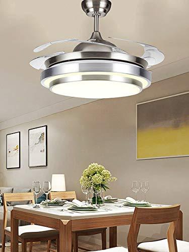 Kaibrite Ventilador de techo LED de 220 V con iluminación y mando a distancia silencioso, creativo, moderno, regulable, lámpara de techo con ventilador