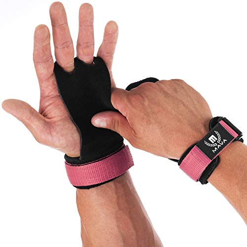 Mava Sports Leather Hand Grips with Wrist Support - Perfect Palm Protection Glove for Crossfit, Gymnastics, Pull ups, WOD, Deadlifts, Gym Workout, Kettlebell and Weightlifting for Men and Women..