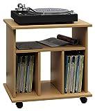 VCM LP Möbel Regal Schallplatten Phonomöbel Medienregal Schrank Stand Schallplattenspieler Buche 45 x 60 x 59 cm 'Retal'