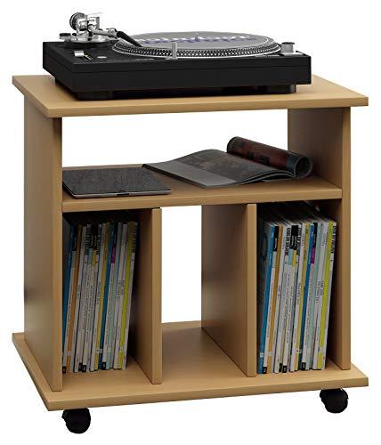 """VCM LP Möbel Regal Schallplatten Phonomöbel Medienregal Schrank Stand Schallplattenspieler Buche 45 x 60 x 59 cm \""""Retal\"""""""