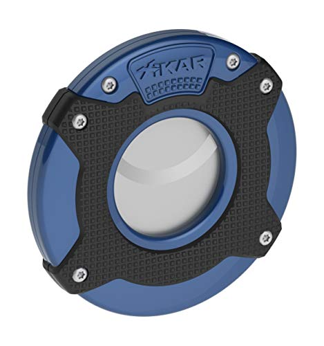 XIKAR Enso Cigar Cutter, Synchronized Double-Guillotine Stainless Steel Blades, Planetary Gear System, Blue