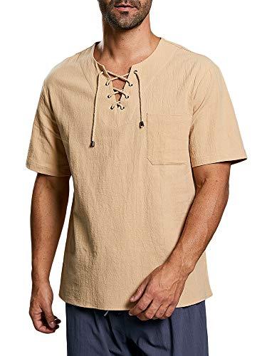 Herren Hemd Kurzarm Mittelalter Freizeithemd Mit Schnürung Regular Fit Baumwolle T Shirt Sommer Tops, A-Khaki, L