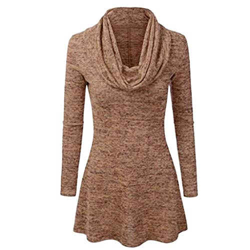 MERICALLangärmliges langärmliges warmes Damenoberteil mit rundem Halsausschnitt Women's Loose Casual Turtleneck Solid Long Sleeve Shirts Autumn Tops Blouse(XXXXX-Large,Kaffee)