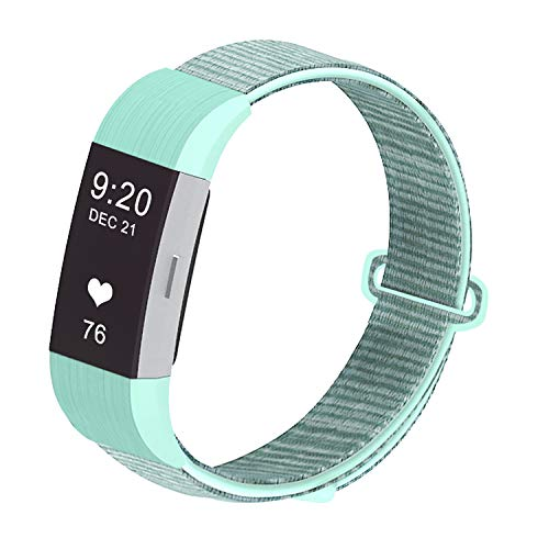 JUN1 Compatible with Fitbit Charge 2 Bands Soft Nylon Sport Wristbands for Men Women Lightweight Replacement Straps Accessories for Fibit Charge 2 Fitness Tracker (LightGreen)