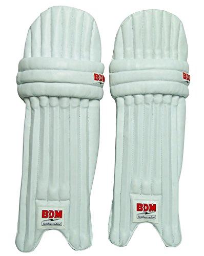 BDM Ambassador Cricket Leg Guard Right Handed PU Leather White Mens Batting Pads