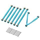 CUHAWUDBA Juego de Varillas de UnióN de Varilla de TraccióN de Enlace de Metal para Axial SCX24 C10 B-17 AXI00001 AXI00002 1/24 RC Piezas de Coches de Orugas, Azul
