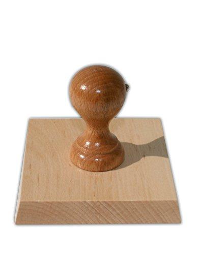Holzstempel mit individueller Stempelplatte jetzt gestalten, quadratisch, 100 x 100 mm, für Adressen, Logos oder Texte – Textstempel, Firmenstempel, Adressstempel
