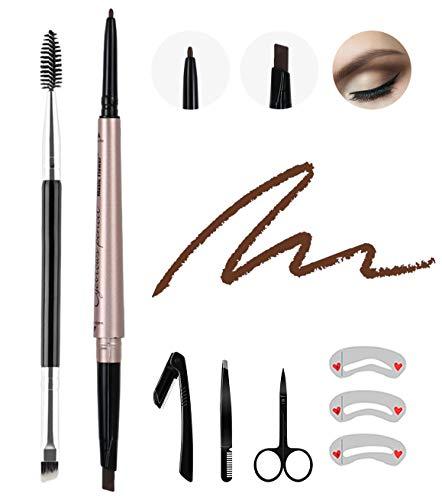 8 Pcs Waterproof Eyerow Pencil Dark Brown,Professional Brow Pencil Kit with Eyebrow Brush,Stencil Tweezer Razor