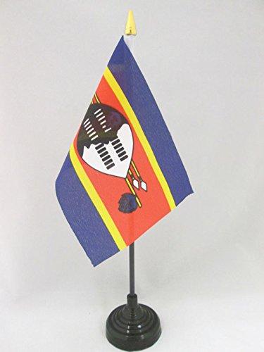 AZ FLAG TISCHFLAGGE SWASILAND 15x10cm goldene splitze - KÖNIGREICH SWASILAND TISCHFAHNE 10 x 15 cm - flaggen