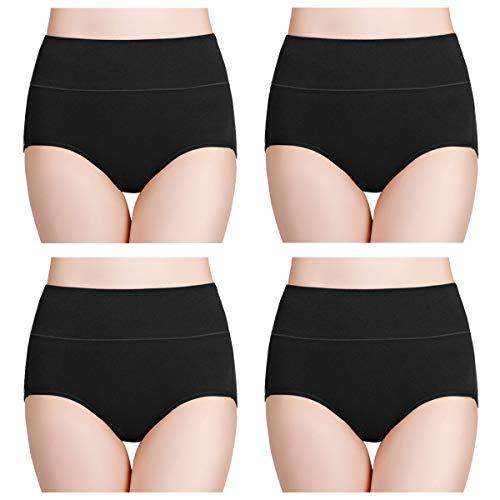 wirarpa Culotte Femme Coton Taille Haute sous-vêtements Stretch Slip Confort Shortys Femme avec Contrôle du Ventre Lot de 4 Noir FR 40-42 Taille M