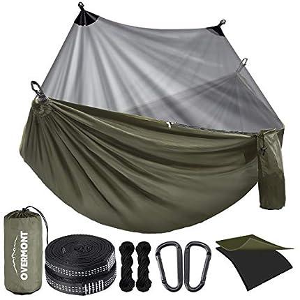 Overmont Hamaca para Acampar con mosquitera Hamaca para mochilero de Doble Capa con Red para Insectos portátil Ligera para Exteriores (270x140cm)