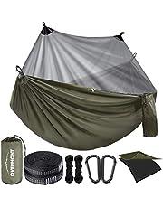 Overmont Camping hangmat met klamboe Duitse TUV gecertificeerde dubbellaagse hangmat draagbare hangmat met insectennet voor outdoor reizen sport met 3 m boombanden Max belasting van 400 KG (groen)