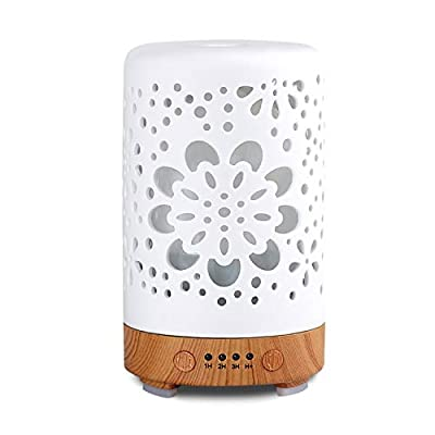 Essential Oil Diffuser, White 100ml Ceramic Diffuser, Aromatherapy Diffuser with 4 Timers Model, Cool ceramic Mist Humidifier with Waterless Auto Shut-Off Protection (Shine)