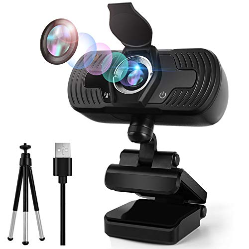 1080p HD Webcam with Microphone for Desktop PC MacBook, 1080P Laptop Webcam with Free Tripod Privacy Cover Face Beauty Feature, Computer USB Camera Webcam for Zoom Video Conference