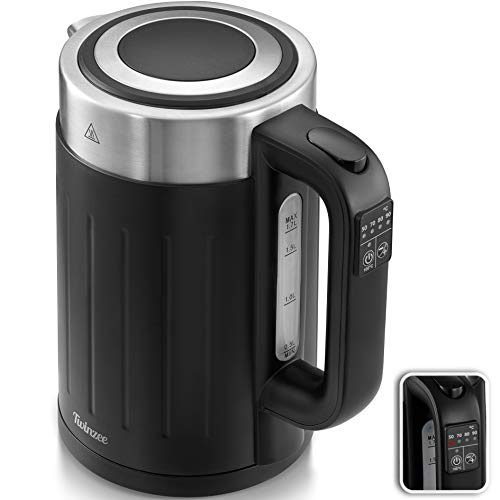 Hervidor Agua Electrico 2200W - Ajuste de Temperatura 50-100ºC - Tetera Electrica Twinzee 1,7 Litros - Sin BPA - Apagado Automatico