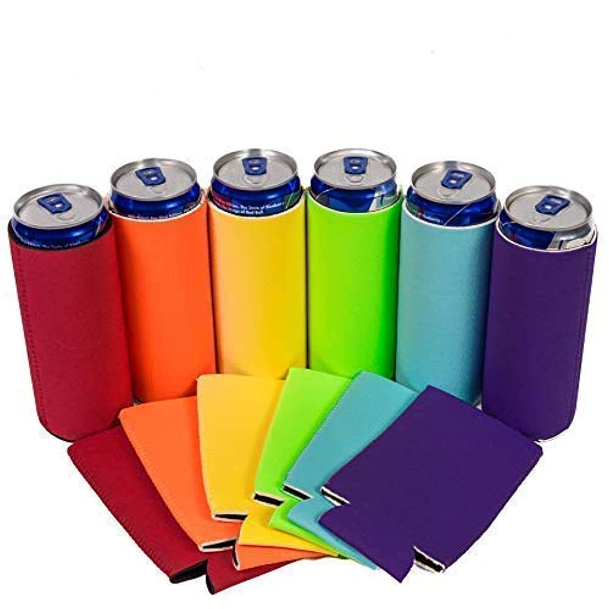 QualityPerfection - 6 Multi Color Slim Can Cooler Sleeves - Beer Blank Skinny 12 oz Neoprene Coolies - Perfect For 12 oz Slim Red Bull, Michelob Ultra, Spiked Seltzer,Truly - Great For Any Event