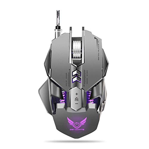 Mechanische Maus, 7-Key 250-4000 DPI Mechanische Makro mit USB-Kabel Optical Mouse Defines Spiel Maus Gamer für PC Laptops