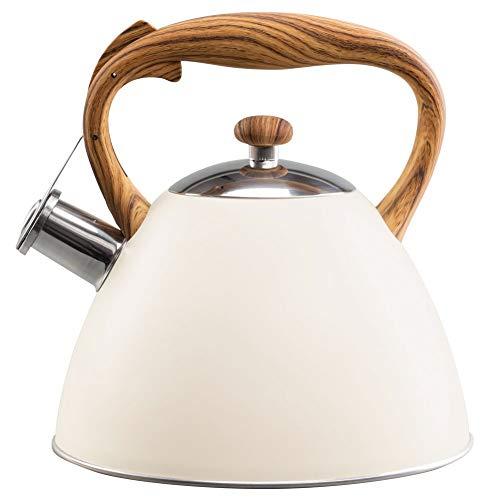 VILDE Wasserkessel 3L Modern automatisch GASHERD INDUKTION Wasserkocher Flötenkessel Holz-Farbe cremig beige