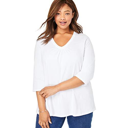 Woman Within Women's Plus Size Perfect Shirred V-Neck Three-Quarter Sleeve Tee - 18/20, White
