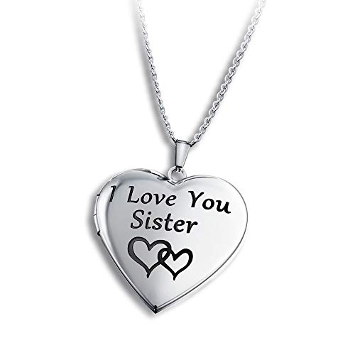 PHOCKSIN Locket Necklace Engraved I Love You Sister Photo Lockets that Holds Pictures Little Big Sis Sisters Birthday Gifts Jewelry