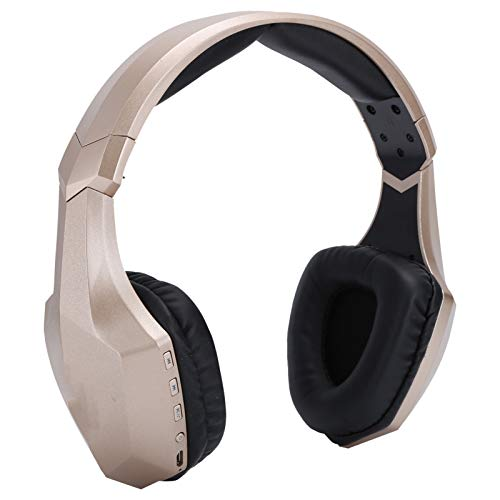 Auriculares Bluetooth con micrófono de luz LED Auriculares estéreo inalámbricos Auriculares para juegos Auriculares con tarjeta de enchufe dorado para juegos, escuchar música, entretenimiento