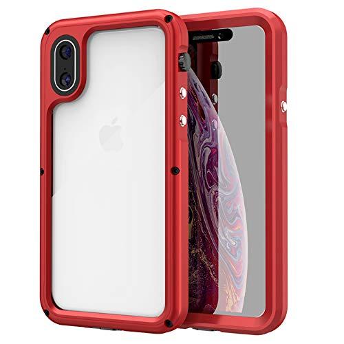 Funda para iPhoneX/XS/XR/XS MAX, IP68 Certificado Sumergible Carcasa,Carcasa a Prueba de Caídas, Nieve,Golpes, Resistente al Agua,Funda Protectora de Cuerpo Completo,Red,iPhone X